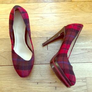 COLE HAAN NIKE AIR plaid red pumps size 8.5